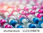 closeup pink white and blue... | Shutterstock . vector #1122198878