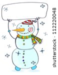 Funny snowman. Christmas card for your design with place for text, illustration - stock photo