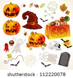 set of halloween design... | Shutterstock . vector #112220078