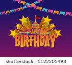 happy birthday title with... | Shutterstock .eps vector #1122205493