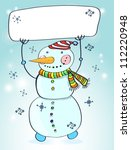 Funny snowman. Christmas card for your design with place for text,vector illustration - stock vector
