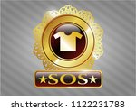 gold shiny badge with shirt... | Shutterstock .eps vector #1122231788