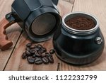 espresso in moka pot old coffee ... | Shutterstock . vector #1122232799