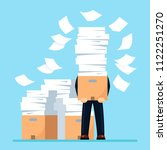 busy businessman with pile of... | Shutterstock .eps vector #1122251270