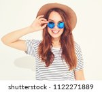 portrait of young stylish... | Shutterstock . vector #1122271889