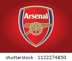 flag red arsenal background... | Shutterstock .eps vector #1122274850