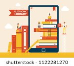 electronic library books set... | Shutterstock .eps vector #1122281270
