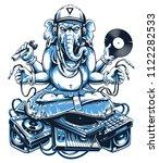 ganesha dj sitting on... | Shutterstock .eps vector #1122282533
