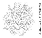 line drawing vector floral...   Shutterstock .eps vector #1122289280