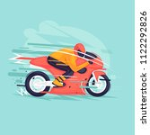 motorcycle race. flat design... | Shutterstock .eps vector #1122292826