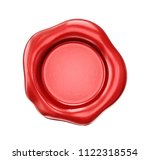 red wax seal isolated on a... | Shutterstock . vector #1122318554