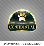 shiny badge with paw icon and... | Shutterstock .eps vector #1122323300