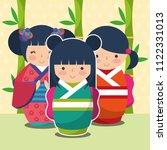 Group Cute Japanese Kokeshi...