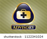 gold shiny badge with medical... | Shutterstock .eps vector #1122341024