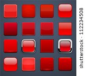 set of blank red square buttons ... | Shutterstock .eps vector #112234508