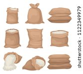 Flat Vector Set Of Burlap Sack...
