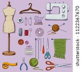 set of tools for needlework and ... | Shutterstock .eps vector #1122367670