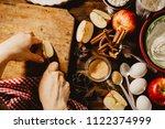baking concept of autumn apple... | Shutterstock . vector #1122374999