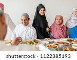 muslim family having a ramadan... | Shutterstock . vector #1122385193