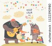 cute animal music band | Shutterstock .eps vector #1122390980