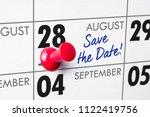 wall calendar with a red pin  ... | Shutterstock . vector #1122419756