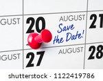 wall calendar with a red pin  ... | Shutterstock . vector #1122419786