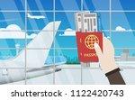 hand holding passport and... | Shutterstock .eps vector #1122420743