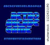 retro 80s video game alphabet... | Shutterstock .eps vector #1122421190