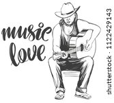 guitarist plays guitar  love... | Shutterstock .eps vector #1122429143