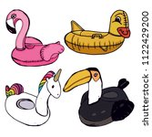 flamingos  unicorn  duck and... | Shutterstock .eps vector #1122429200