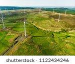 aerial view of wind turbines...   Shutterstock . vector #1122434246