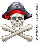 cartoon pirate jolly roger...   Shutterstock .eps vector #1122435560