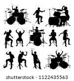 set drummer and drum kit...   Shutterstock .eps vector #1122435563
