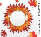 autumn leaves with plate fork ... | Shutterstock .eps vector #1122447359