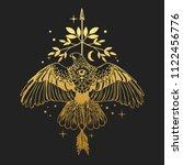 soaring bird of prey. gold... | Shutterstock .eps vector #1122456776