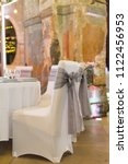 wedding chair with ribbon  gray ... | Shutterstock . vector #1122456953
