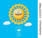 vector funky cartoon summer sun ...   Shutterstock .eps vector #1122457868