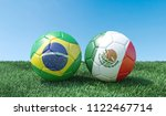 two soccer balls in flags... | Shutterstock . vector #1122467714