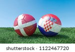 two soccer balls in flags... | Shutterstock . vector #1122467720