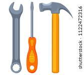 colorful cartoon toolkit set.... | Shutterstock .eps vector #1122472316