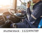 semi truck truck driver making... | Shutterstock . vector #1122494789