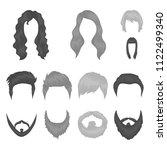 mustache and beard  hairstyles... | Shutterstock .eps vector #1122499340