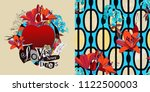 love never dies. collage of... | Shutterstock .eps vector #1122500003