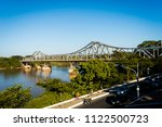 metal bridge  postcard of the... | Shutterstock . vector #1122500723