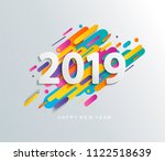 creative happy new year 2019... | Shutterstock .eps vector #1122518639