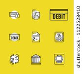 banking icons set with debit ...