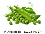 Green Peas Pods Group Isolated...