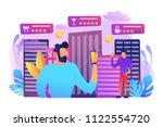 people checking cafe  bar and... | Shutterstock .eps vector #1122554720