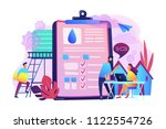 people near huge paper tablet... | Shutterstock .eps vector #1122554726