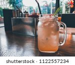 fresh delicious lemonade in the ... | Shutterstock . vector #1122557234
